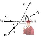 МР38, Рис. 7.8 - Шар массой m1 движется со скоростью v1 и упруго сталкивается с шаром массой m2