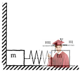 МР42, Рис. 11.9 - Два одинаковых тела массой m каждое соединены пружиной жесткостью k и лежат на горизонтальной плоскости