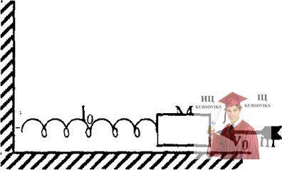 МР44, Рис. 13.5 - Брусок массой М касается недеформированной пружины прикрепленной к стене