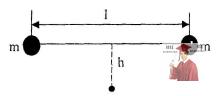 МР42, Рис. 11.16 - Два одинаковых шарика, соединенные невесомой нерастяжимой нитью длиной l, падают с высоты h