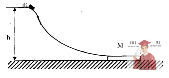 МР44, Рис. 13.9 – Небольшая шайба массой соскальзывает с гладкой горки и попадает на доску