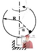 МР35, Рис. 4.13 - Сферическая чаша радиуса R вращается относительно вертикального диаметра
